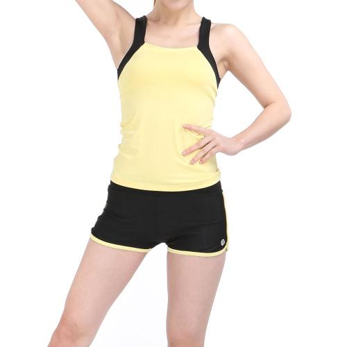 Lixada Donne senza maniche Yoga respirabile stabiliti Sport Singlet Top reggiseno + shorts per Running Fitness Gym