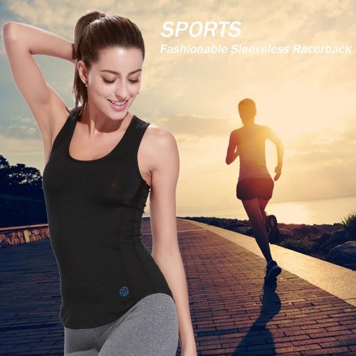 Camicia di sport Lixada donne senza maniche con taglio all'americana per Yoga palestra Yoga alla moda maglia da Running