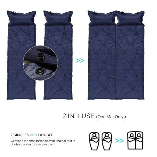 TOMSHOO Outdoor Camping Thick Automatic Inflatable Mattress Self-Inflating Tent Mat Picnic Mat with Pillow фото