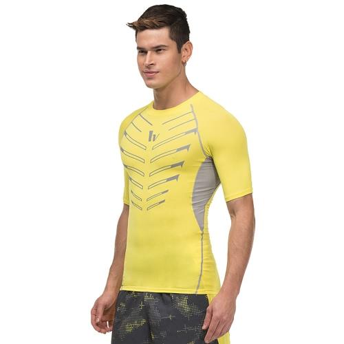 Camicia di compressione manica corta da uomo Sport Fitness Bodybuilding funzionamento di ginnastica riflettente Top T-shirt