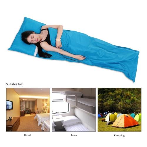 TOMSHOO 75 * 210CM viaje al aire libre que acampa yendo de poliéster Pongee saludable Saco de dormir Liner con la funda de almohada portátil ligero de hotel de viaje de negocios