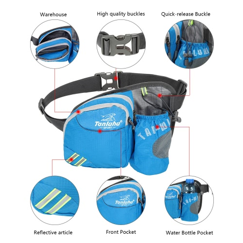 Ultra-light Outdoor Waist Bag Pack with Water Bottle Holder Pouch for Hiking Running Cycling Camping Climbing Travel
