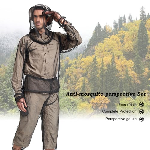 Lixada Lightweight Summer Bug Wear Mosquito Suit Jacket Mitts Pants Socks for Men Women With Ultra-fine Mesh Hiking Fishing Camping Bee feeding Cycling