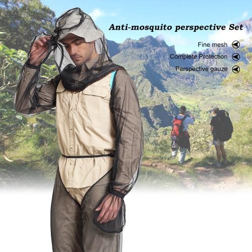 Lixada Bug ligero del verano del desgaste del traje, jefe Mosquito Net mangas pantalones para los hombres de las mujeres con el ciclo de alimentación ultra-fina malla Senderismo acampa de la pesca de la abeja