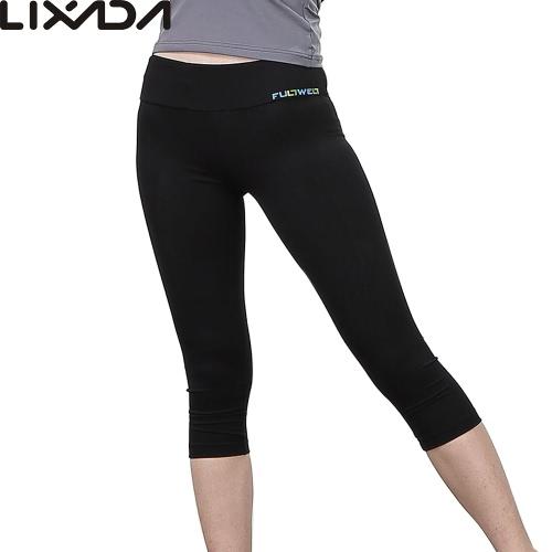 Lixada mujeres Yoga apretado pantalones suave secado rápido Capri pantalones deportes polainas para correr Yoga