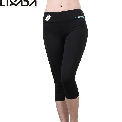 Lixada donne stretto Yoga pantaloni morbidi Quick-dry Capri pantaloni sport Leggings per esecuzione di Yoga