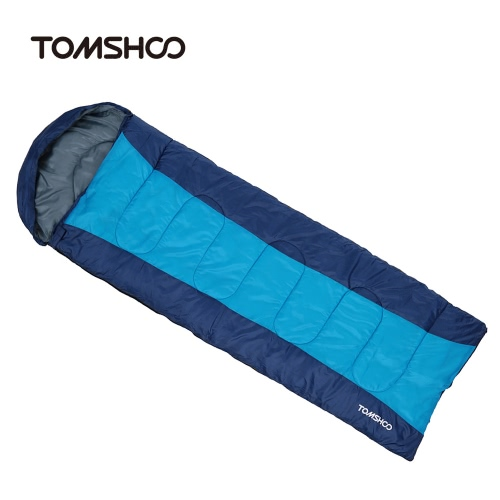TOMSHOO (190+30)X75CM Thermal Adult Outdoor Hooded Envelope Sleeping Bag Camping Travel Hiking Multifunction Thick 1.5kg 10-15℃