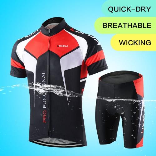 Los hombres transpirable rápido seco cómodo de manga corta Jersey + Shorts acolchados ropa de ciclo conjunto ropa del montar a caballo