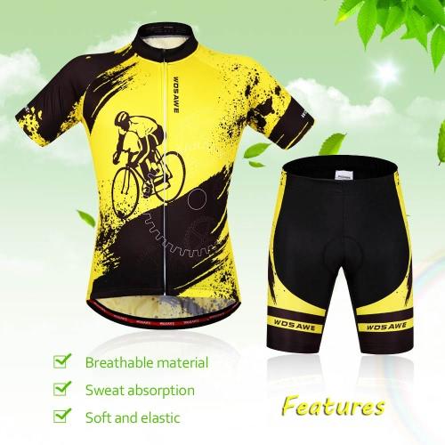ユニセックス通気性のある快適な半袖サイクリング ウエア パッド入りショーツ セット スポーツウェアに乗って