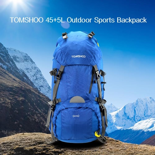 TOMSHOO 45+5L Outdoor Sport Hiking Trekking Camping Travel Backpack Pack Bag Mountaineering Climbing Knapsack with Rain Cover