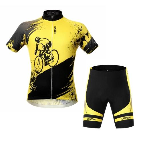 Lixada Breathable Comfortable Short Sleeve Padded Shorts Cycling Clothing Set Riding Sportswear