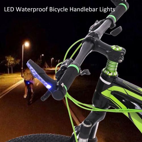 LED a prueba de agua de la bicicleta manillar de la bici extremo de la barra luces de advertencia de la lámpara de luz MTB Racing Riding Ciclismo Bar Luces reflectantes Nocturnal Lights