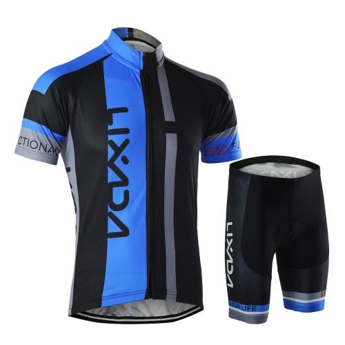 Männer atmungsaktiv schnell trocken komfortable Kurzarmtrikot + gepolsterte Shorts Radfahren Kleidung gesetzt Reiten Sportswear