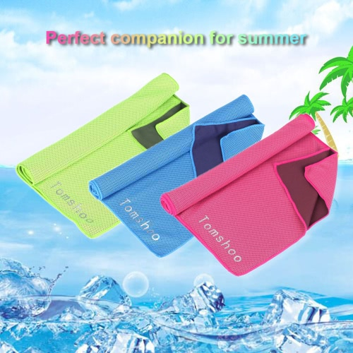 TOMSHOO 32*105cm Microfiber Reusable Instant Cooling Cold Chill Heat Relief Sports Compact Towel for Running Biking Travel Camping Fitness Beach Gym Gift