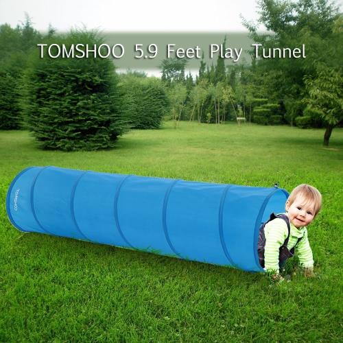 TOMSHOO 5.9 Feet Tunnel Portable Children Kids Play Tent Outdoor Garden Folding Pop Up Baby Outdoor Toy Tent