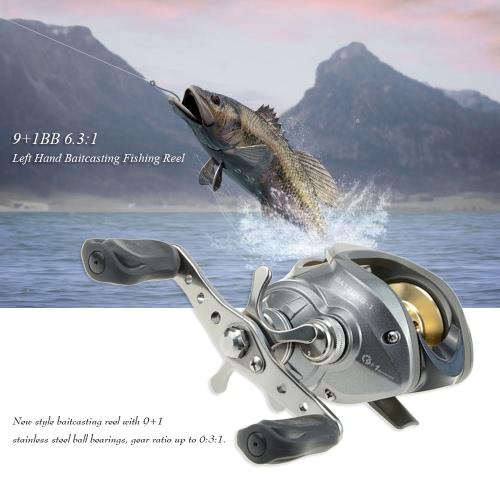 9 + 1BB 6,3: 1 Izquierda / Derecha Mano Baitcasting Carrete de pesca de aluminio del bastidor de cebo de giro de los carretes baitcast