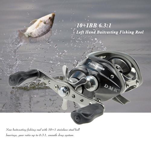 10 + 1BB 6.3: 1 sinistra / destra mano Baitcasting Mulinello fuso di esca Baitcast bobina della rotella di pesca Attrezzatura da pesca