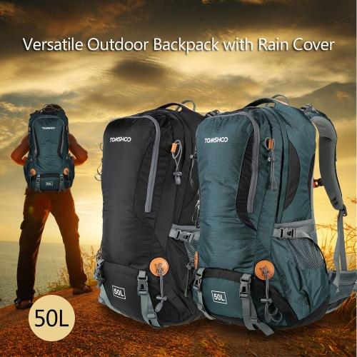 TOMSHOO 50L Vielseitig im Freien Wandern Camping Klettern Reise Home Rucksack Pack Tasche Wasserabweisend Rucksack mit Regen-Abdeckung Regenschutz