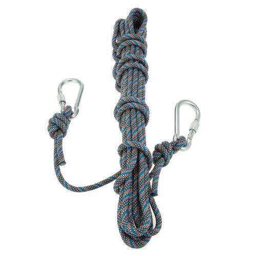 Docooler 8mm * 10m al aire libre Seguridad de la escalada de la cuerda de la cuerda Espeleología Rappel Rappel Rescate Supervivencia accesorio de la honda de la cuerda con mosquetones