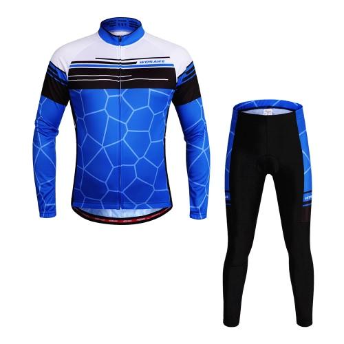 WOSAWE® Unisex traspirante ciclismo asciugatura rapida full-zip maniche lunghe Jersey Pantaloni ciclismo in mountain bike manica lunga vestiti della bicicletta degli insiemi all'aperto
