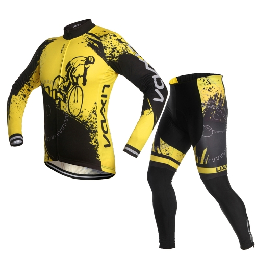 Lixada Unisex Breathable Comfortable Long Sleeve Padded Pants Cycling Clothing Set Riding Sportswear