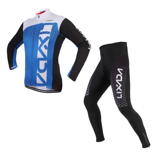 Lixada unisex respirable cómodo de manga larga pantalones acolchados pantalones de invierno de ciclo de la ropa del camino de la bici del montar a caballo de deporte
