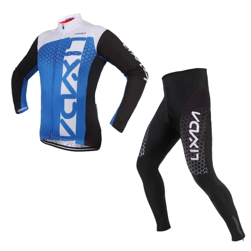 Lixada Unisex Breathable Comfortable Long Sleeve Padded Pants Trousers Winter Cycling Clothing Set Road Bike Riding Sportswear