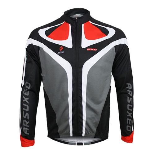 ARSUXEO der Männer im Freien Breathable bequeme Langarm-Jacke Padded Pants Fahrradbekleidung Set Reitsportkleidung