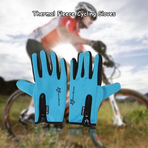 Gel ROCKBROS Unisex antivento ciclismo silicone Guanti completa Finger Gloves guanti termici Touch Screen guanti da corsa Equitazione Motociclismo sci escursionismo all'aperto
