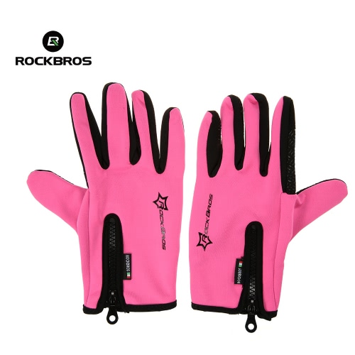 ?ROCKBROS Unisex Windproof Cycling Silicone Gel Gloves Full Finger Gloves Thermal Gloves Touch Screen Gloves Racing Riding Motorcycling Skiing Hiking Outdoor