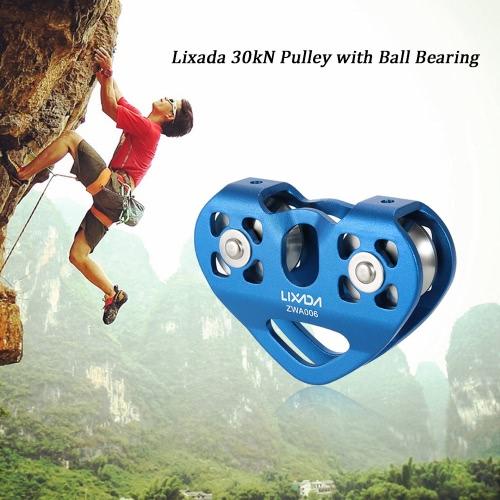 Lixada 30 kN Zipline cavo Trolley puleggia con cuscinetto a sfere Rock Climbing Speleologia Aloft operazioni di soccorso