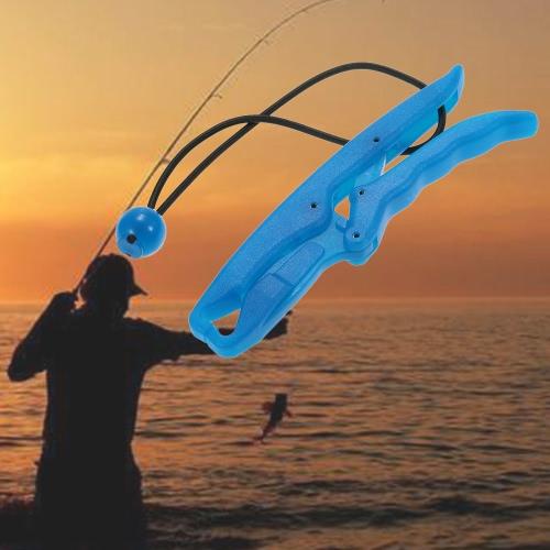 Docooler plástico noctilucentes Peces de plástico flotante Grip Grip Fish Fish Pinza de labios en forma de mano de pescado Guardián controlador Lipper con correa de cuello elástico de la cuerda
