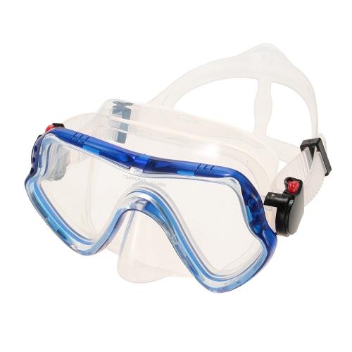 Uomo delle donne anti-fog protezione UV400 finestra singola mascherina di immersione subacquea Snorkeling maschera subacquea Nuoto Maschera Goggle Lente in vetro temprato facciale in silicone flessibile PC telaio adulti