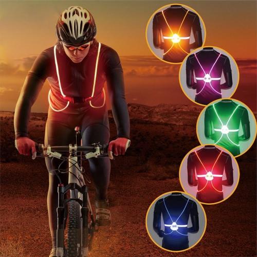 Illuminato maglia della cinghia Fibra ottica LED riflettente luci di sicurezza regolabile Gear Outdoor Sports corso Cyling Vest per childre Uomo Donna