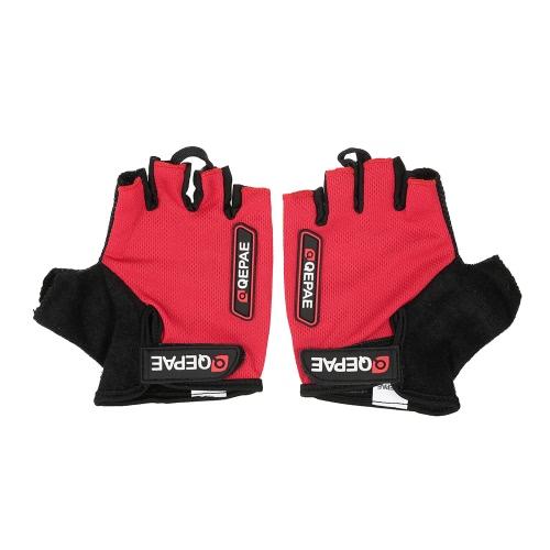 QEPAE Non-Slip Gel Pad Handschuhe Herren Damen-Sportbekleidung einen.Kreislauf.durchmachenreiten Short halbe Finger-Handschuhe Breath Shock-Absorption