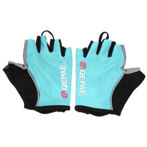 QEPAE Biking Handschuhe Gel Pad Fingerless halbe Finger-Handschuhe für sichere Nacht Reiten Radfahren Wandern
