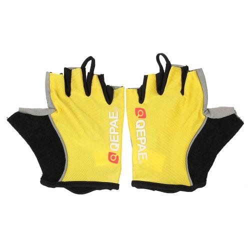 QEPAE Bicicletta Guanti senza dita Gel Pad guanti mezzi della barretta per il funzionamento sicuro Notte Equitazione Escursionismo