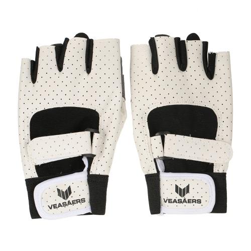 1 Paar Anti-Schock-Breathable PU-Leder-Halbfingerhandschuhe Sport Fitness-Handschuhe für Chin Up Push-Ups Radfahren Fitnesstraining