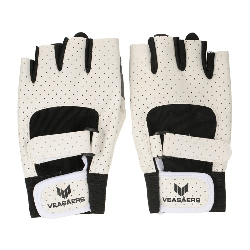 1 Coppia di Anti-shock pelle traspirante PU guanti mezze dita Sport Fitness Guanti per Chin Up Spingere Formazione Ups Ciclismo Palestra