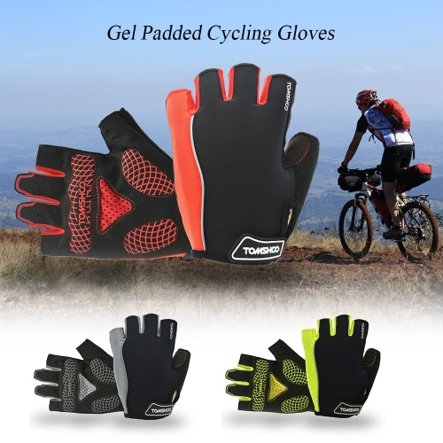 TOMSHOO Cycling Gloves Men's Women's Outdoor Sports Mountain Bike Bicycle Half Finger Cycling Gloves Non-slip Gel Pad Breathable Biking Riding Gloves Image