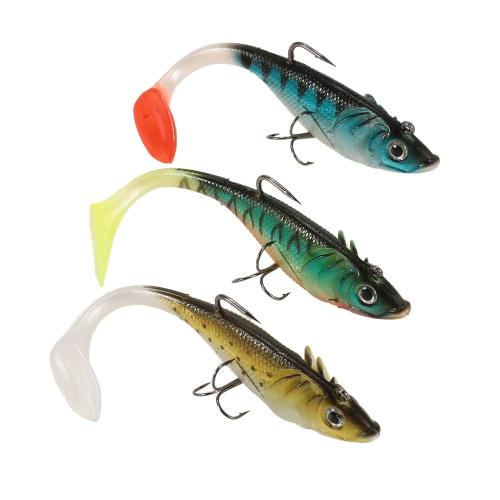 3шт 3D Eyes прикормы Установить Kit с T Tail Trebble крючок Soft рыболовную приманку прибалты Искусственная приманка Приманка