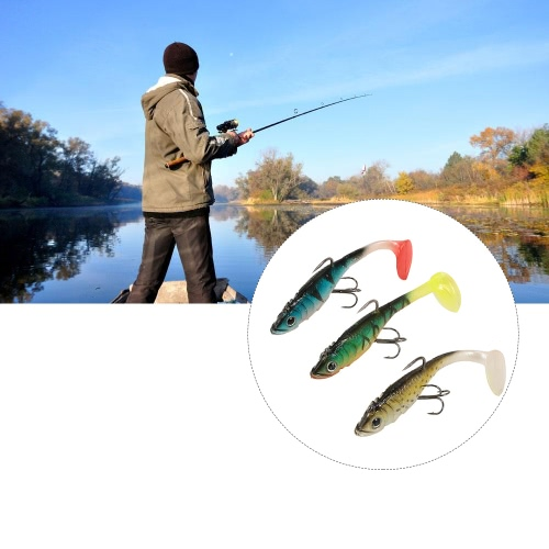 3Pcs 3D Eyes Fishing Lures Set Kit with T Tail Trebble Hook Soft Fishing Lure Baits Artificial Bait