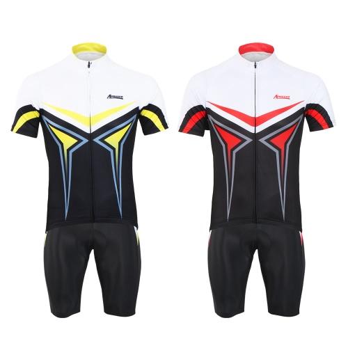Image of Arsuxeo Herren Sommer Breathable Kurzarm Radfahren Jersey Shirt 3D Gepolsterte Shorts Set Schnell Trocken Radfahren Reiten Laufen Anzug Bekleidung Set Sportbekleidung