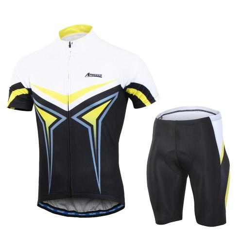 Arsuxeo Herren Sommer Breathable Kurzarm Radfahren Jersey Shirt 3D Gepolsterte Shorts Set Schnell Trocken Radfahren Reiten Laufen Anzug Bekleidung Set Sportbekleidung