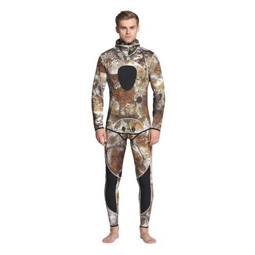 Men's Camouflage Two-piece 3mm Neoprene Scuba Diving Swimming Surfing Spearfishing Wet Suit Hoodie Jacket Pants Combo Snorkeling Suit