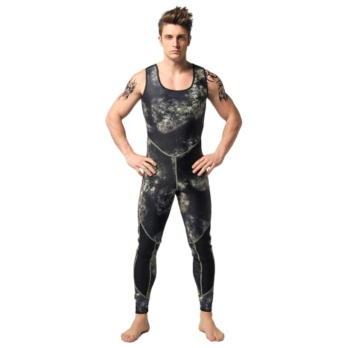 Мужская камуфляжная двухкомпонентная 3-мм неопреновая подводная акробатика. Плавание. Серфинг. Подводная охота. Мокрый костюм. Толстовка с капюшоном. Комбинезон для подводного плавания.