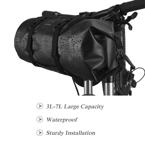 Bicycle Bag Waterproof Cycling Mountain Road MTB Bike Front Frame Handlebar Pannier Dry Bag with Roll Top Closure 3L-7L Adjustable Image