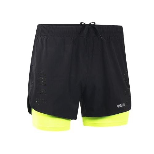 Pantaloncini da corsa da 2 a 1 uomini Arsuxeo Quick Drying Respirabile Esercizio di allenamento attivo Jogging Shorts ciclismo con più lunga linea