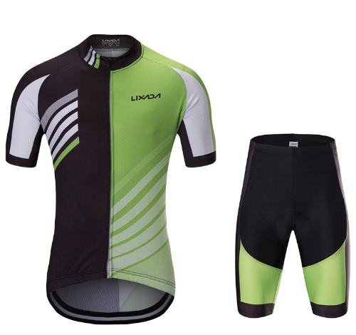 Lixada Männer Breathable Schnell trockenes kurzes Hülsen-Jersey-Hemd Gel gepolsterte Kurzschlüsse Radfahrende Kleidungs-Satz-Reitradfahren-Sportkleidung