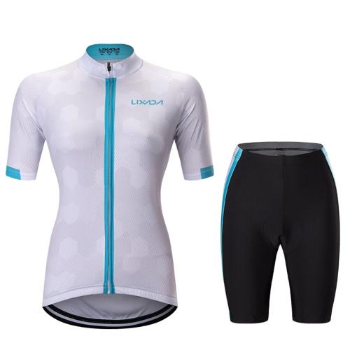Lixada Frauen Full-zip Kurzarm-Radsport-Jersey-Shirt Schnell trocken Breathable Mountain Bekleidung Bike Top + Komfortable Gel Gepolsterte Shorts MTB Riding Biking Bekleidung Set Sportswear
